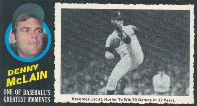 Denny McLain 1971 Topps Greatest Moments Card